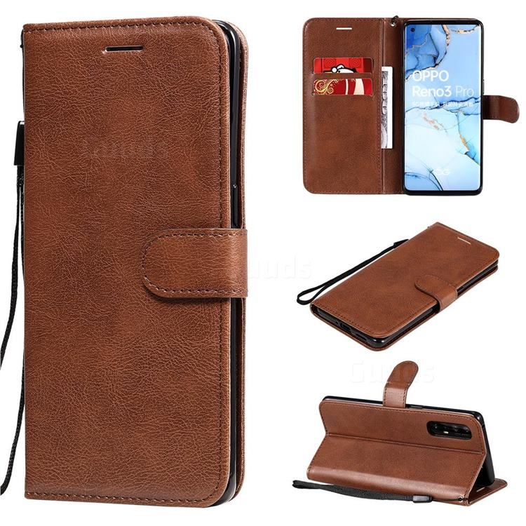 Retro Greek Classic Smooth PU Leather Wallet Phone Case for Oppo Find X2 Neo - Brown