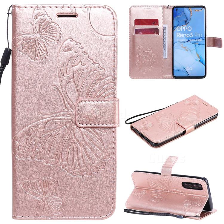 Embossing 3D Butterfly Leather Wallet Case for Oppo Find X2 Neo - Rose Gold