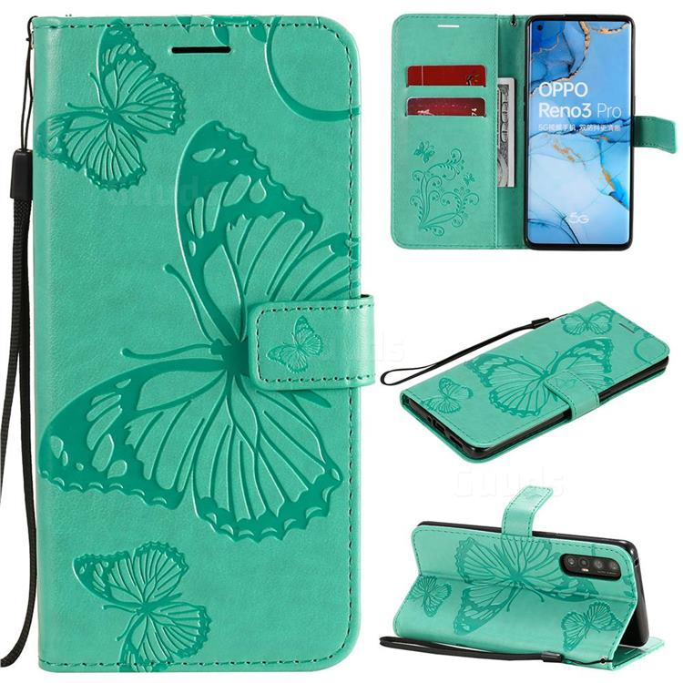 Embossing 3D Butterfly Leather Wallet Case for Oppo Find X2 Neo - Green