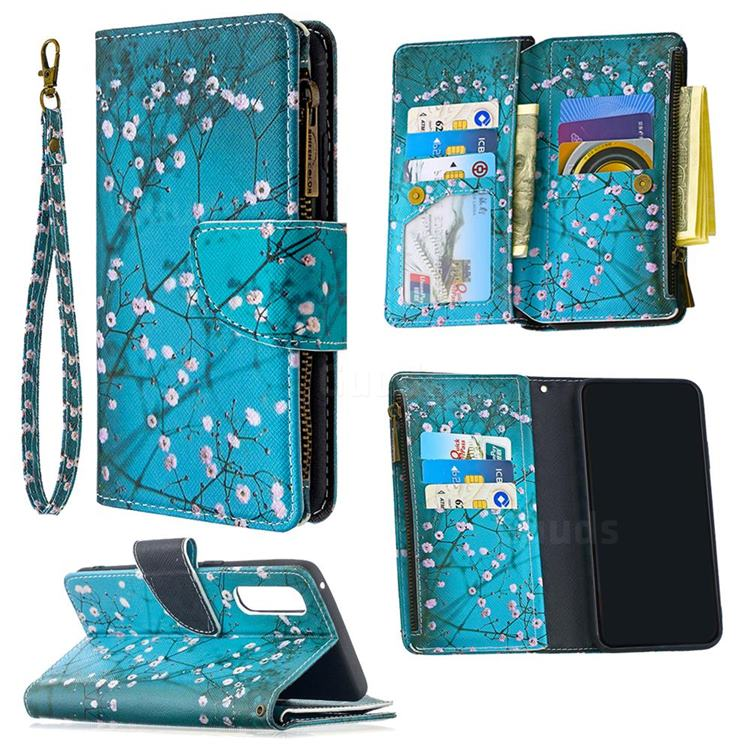 Blue Plum Binfen Color BF03 Retro Zipper Leather Wallet Phone Case for Oppo Find X2 Neo