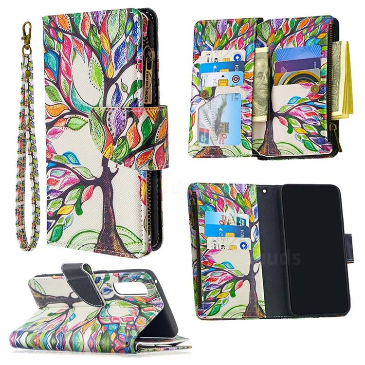 The Tree of Life Binfen Color BF03 Retro Zipper Leather Wallet Phone Case for Oppo Find X2 Neo