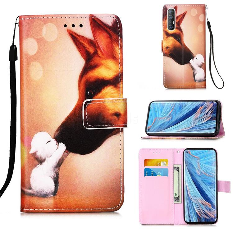 Hound Kiss Matte Leather Wallet Phone Case for Oppo Find X2 Neo