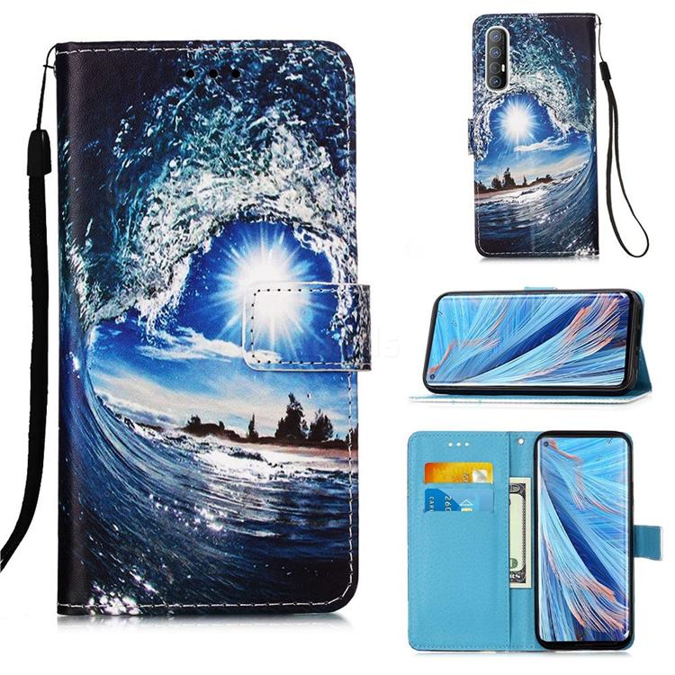 Waves and Sun Matte Leather Wallet Phone Case for Oppo Find X2 Neo