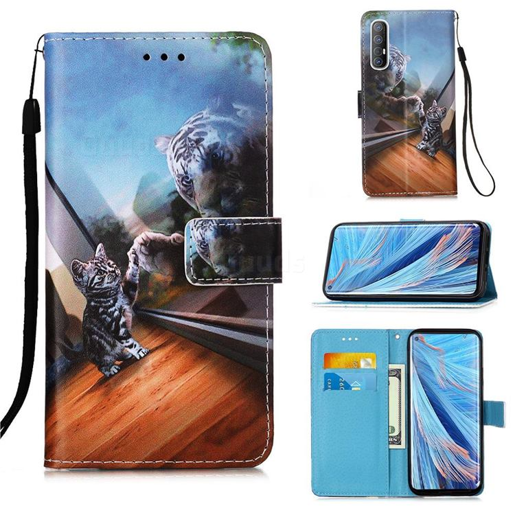 Mirror Cat Matte Leather Wallet Phone Case for Oppo Find X2 Neo