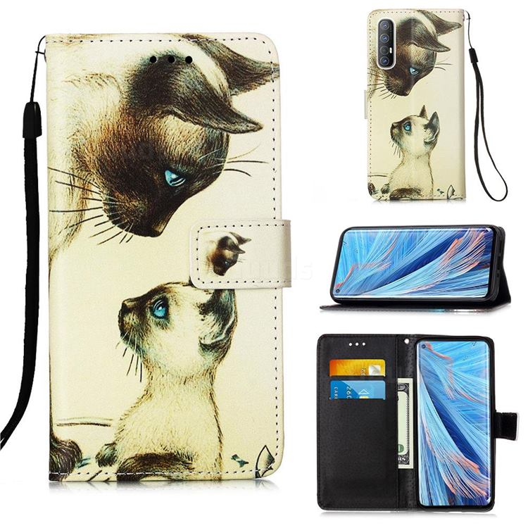 Cat Confrontation Matte Leather Wallet Phone Case for Oppo Find X2 Neo