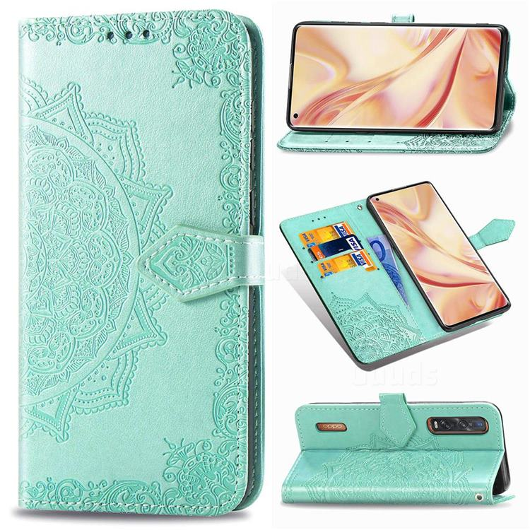 Embossing Imprint Mandala Flower Leather Wallet Case for Oppo Find X2 Pro - Green