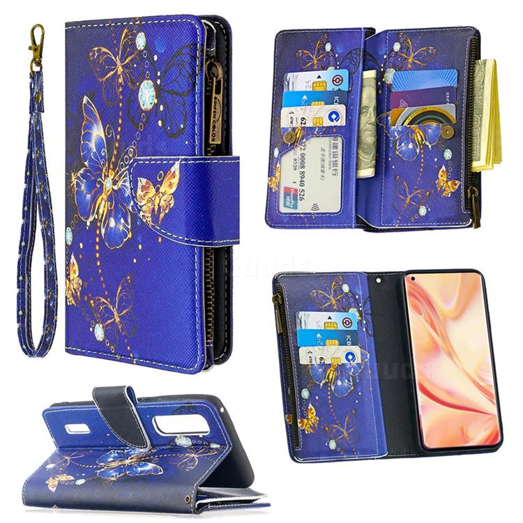 Purple Butterfly Binfen Color BF03 Retro Zipper Leather Wallet Phone Case for Oppo Find X2 Pro