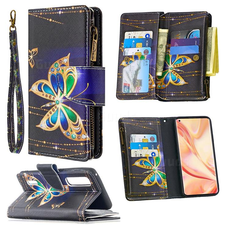 Golden Shining Butterfly Binfen Color BF03 Retro Zipper Leather Wallet Phone Case for Oppo Find X2 Pro