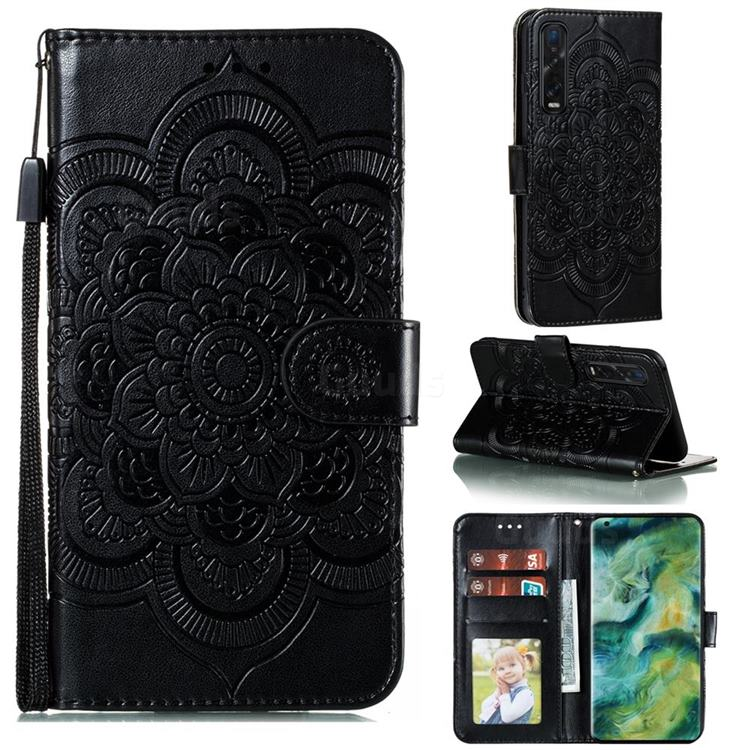 Intricate Embossing Datura Solar Leather Wallet Case for Oppo Find X2 Pro - Black