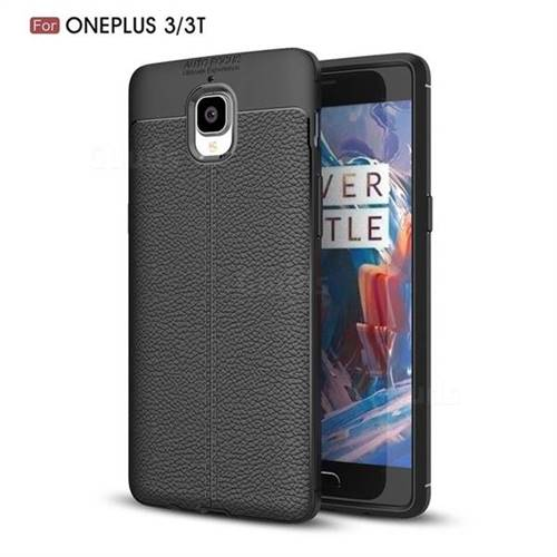 new arrival 4f1a9 abd07 Luxury Auto Focus Litchi Texture Silicone TPU Back Cover for OnePlus 3T 3 -  Black - TPU Case - Guuds