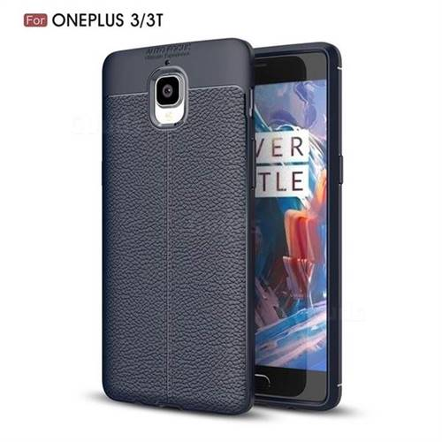 Luxury Auto Focus Litchi Texture Silicone TPU Back Cover for OnePlus 3T 3 - Dark Blue