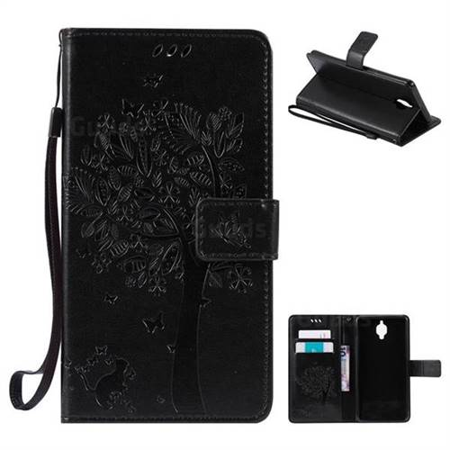 Embossing Butterfly Tree Leather Wallet Case for OnePlus 3T 3 - Black