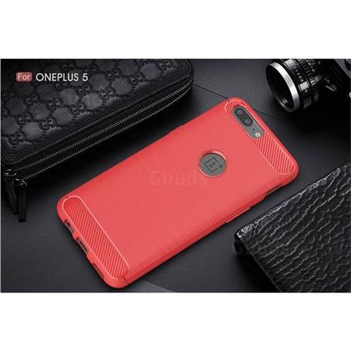 buy popular 3ebfa d1b3e Luxury Carbon Fiber Brushed Wire Drawing Silicone TPU Back Cover for  OnePlus 5 (Red)