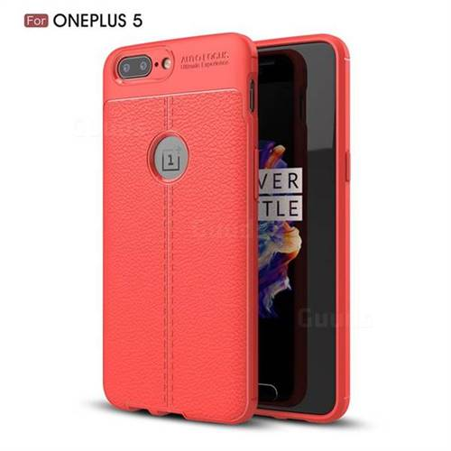 Luxury Auto Focus Litchi Texture Silicone TPU Back Cover for OnePlus 5 - Red