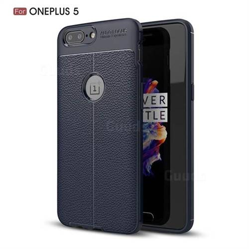 Luxury Auto Focus Litchi Texture Silicone TPU Back Cover for OnePlus 5 - Dark Blue