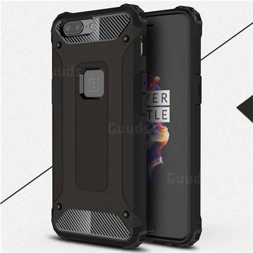 King Kong Armor Premium Shockproof Dual Layer Rugged Hard Cover for OnePlus 5 - Black Gold
