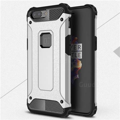 King Kong Armor Premium Shockproof Dual Layer Rugged Hard Cover for OnePlus 5 - Technology Silver