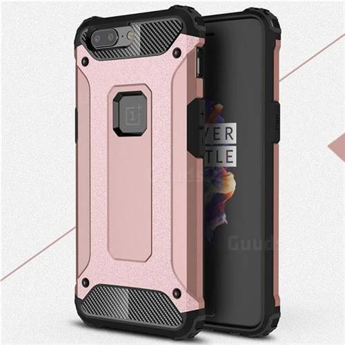 King Kong Armor Premium Shockproof Dual Layer Rugged Hard Cover for OnePlus 5 - Rose Gold