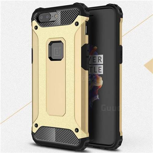 King Kong Armor Premium Shockproof Dual Layer Rugged Hard Cover for OnePlus 5 - Champagne Gold