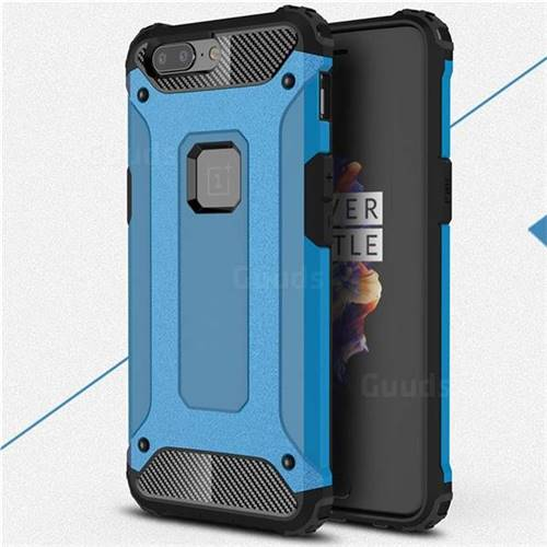 King Kong Armor Premium Shockproof Dual Layer Rugged Hard Cover for OnePlus 5 - Sky Blue