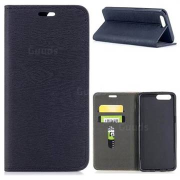Tree Bark Pattern Automatic suction Leather Wallet Case for OnePlus 5 - Black
