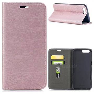 Tree Bark Pattern Automatic suction Leather Wallet Case for OnePlus 5 - Rose Gold