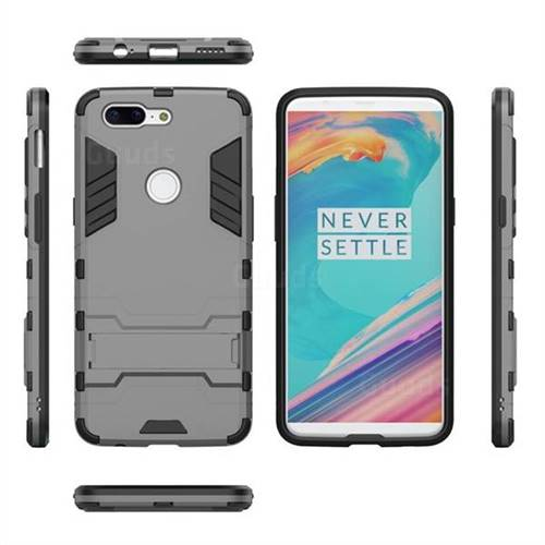 low priced d6fb3 1ebae Armor Premium Tactical Grip Kickstand Shockproof Dual Layer Rugged Hard  Cover for OnePlus 5T - Gray