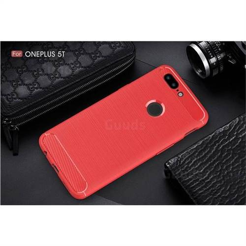 quality design bc6c6 790a4 Luxury Carbon Fiber Brushed Wire Drawing Silicone TPU Back Cover for  OnePlus 5T - Red