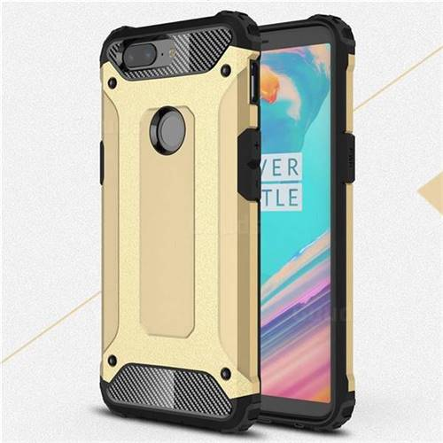 King Kong Armor Premium Shockproof Dual Layer Rugged Hard Cover for OnePlus 5T - Champagne Gold