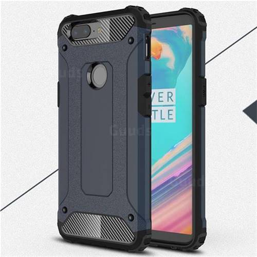 King Kong Armor Premium Shockproof Dual Layer Rugged Hard Cover for OnePlus 5T - Navy