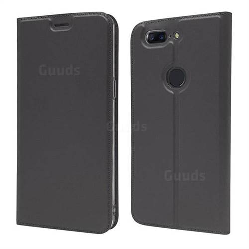 Ultra Slim Card Magnetic Automatic Suction Leather Wallet Case for OnePlus 5T - Star Grey