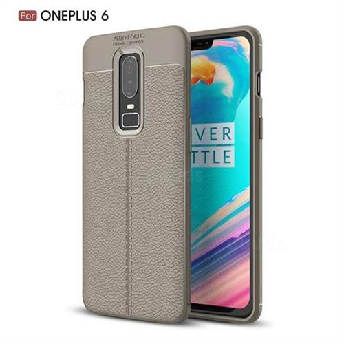 Luxury Auto Focus Litchi Texture Silicone TPU Back Cover for OnePlus 6 - Gray