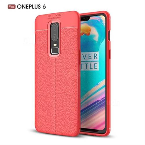 Luxury Auto Focus Litchi Texture Silicone TPU Back Cover for OnePlus 6 - Red