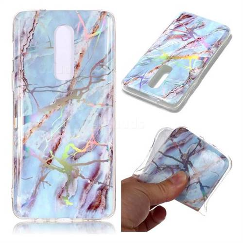 Light Blue Marble Pattern Bright Color Laser Soft TPU Case for OnePlus 6