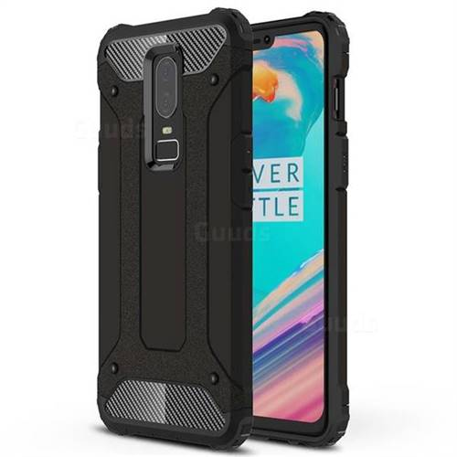 King Kong Armor Premium Shockproof Dual Layer Rugged Hard Cover for OnePlus 6 - Black Gold