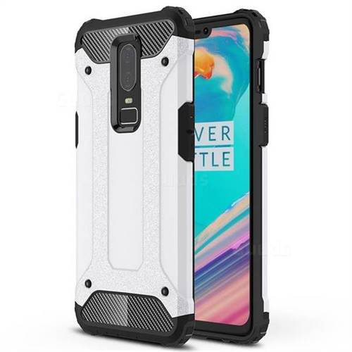 King Kong Armor Premium Shockproof Dual Layer Rugged Hard Cover for OnePlus 6 - White