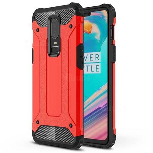 King Kong Armor Premium Shockproof Dual Layer Rugged Hard Cover for OnePlus 6 - Big Red