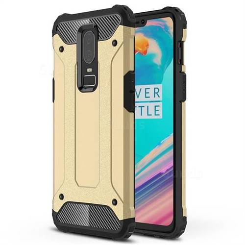 King Kong Armor Premium Shockproof Dual Layer Rugged Hard Cover for OnePlus 6 - Champagne Gold