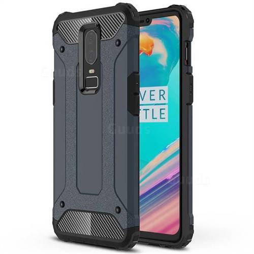 King Kong Armor Premium Shockproof Dual Layer Rugged Hard Cover for OnePlus 6 - Navy