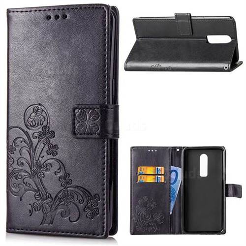 Embossing Imprint Four-Leaf Clover Leather Wallet Case for OnePlus 6 - Black