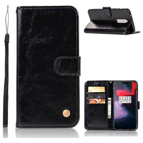 Luxury Retro Leather Wallet Case for OnePlus 6 - Black