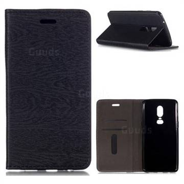 Tree Bark Pattern Automatic suction Leather Wallet Case for OnePlus 6 - Black