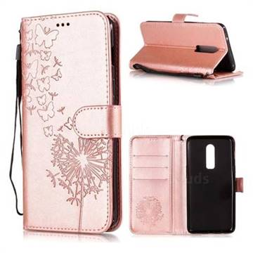 big sale 57ef2 9914c Intricate Embossing Dandelion Butterfly Leather Wallet Case for OnePlus 6 -  Rose Gold