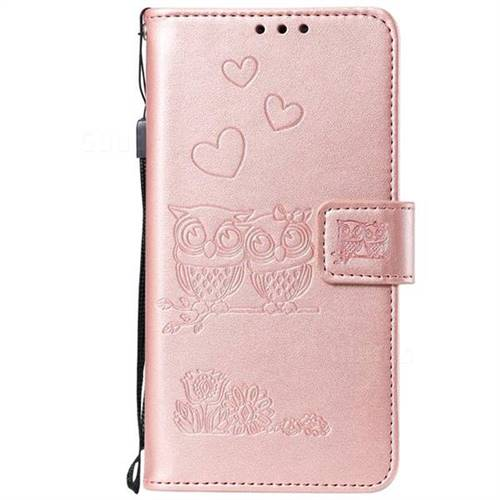 san francisco 8cfda 0ce74 Embossing Owl Couple Flower Leather Wallet Case for OnePlus 6 - Rose Gold
