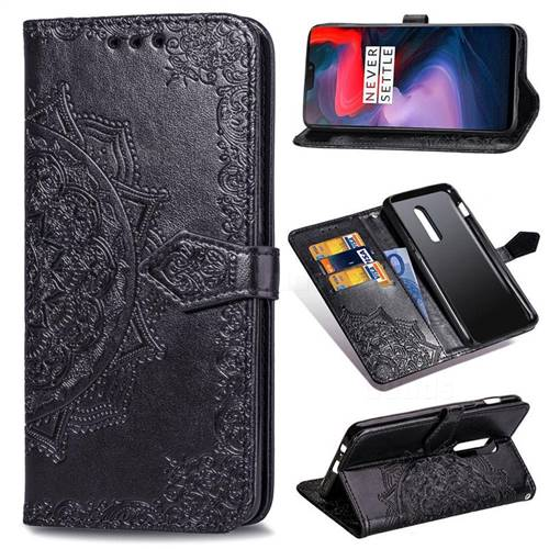 Embossing Imprint Mandala Flower Leather Wallet Case for OnePlus 6 - Black