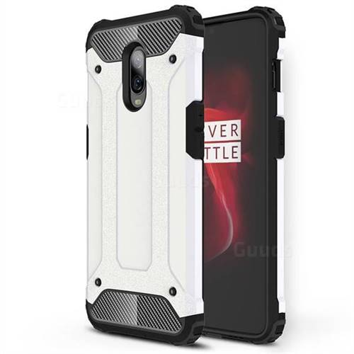 King Kong Armor Premium Shockproof Dual Layer Rugged Hard Cover for OnePlus 6T - White
