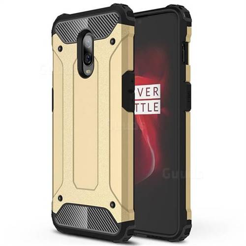 King Kong Armor Premium Shockproof Dual Layer Rugged Hard Cover for OnePlus 6T - Champagne Gold