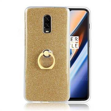 Luxury Soft TPU Glitter Back Ring Cover with 360 Rotate Finger Holder Buckle for OnePlus 6T - Golden