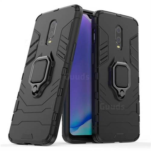 Black Panther Armor Metal Ring Grip Shockproof Dual Layer Rugged Hard Cover for OnePlus 6T - Black