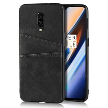 Simple Calf Card Slots Mobile Phone Back Cover for OnePlus 6T - Black